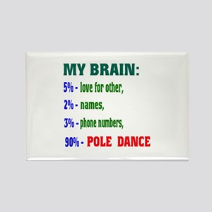 My brain, 90% Pole Dance Rectangle Magnet