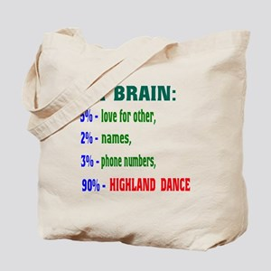 My brain, 90% Highland dance Tote Bag