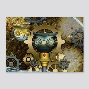 Steampunk, awesome dark mechanical owl 5'x7'Area R