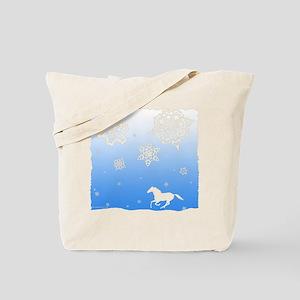 Winter Snowflakes White Horse. Tote Bag