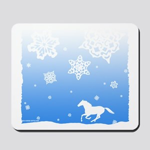 Winter Snowflakes White Horse. Mousepad