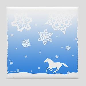 Winter Snowflakes White Horse. Tile Coaster