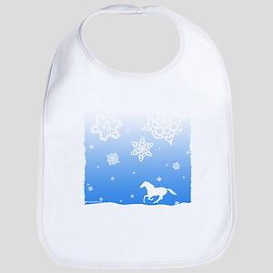 Winter Snowflakes White Horse. Bib