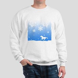Winter Snowflakes White Horse. Sweatshirt