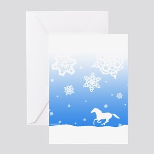 Winter Snowflakes White Horse. Greeting Card