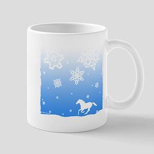 Winter Snowflakes White Horse. Mug