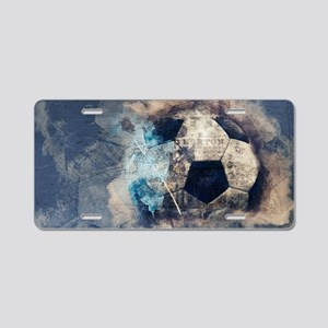 Abstract Blue Grunge Soccer Aluminum License Plate
