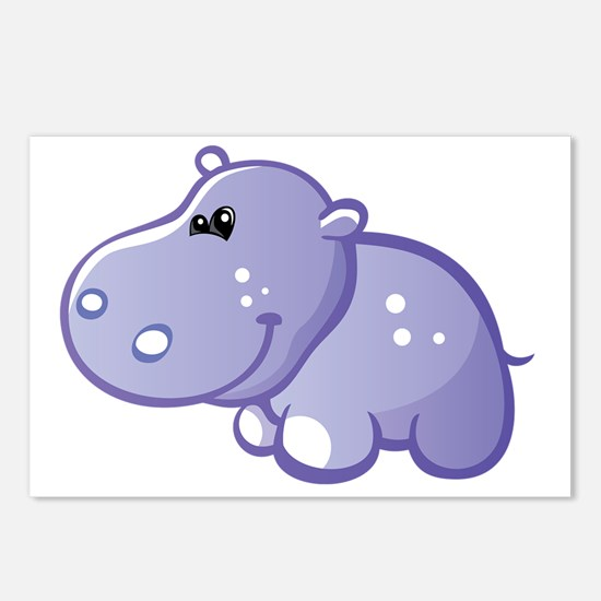 Funny Purple hippo Postcards (Package of 8)