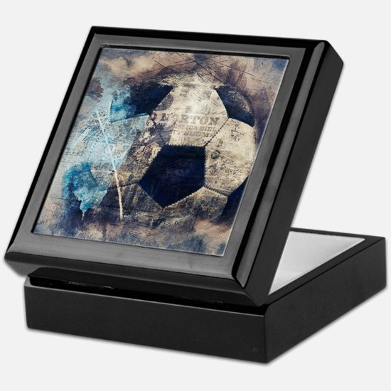 Abstract Blue Grunge Soccer Keepsake Box