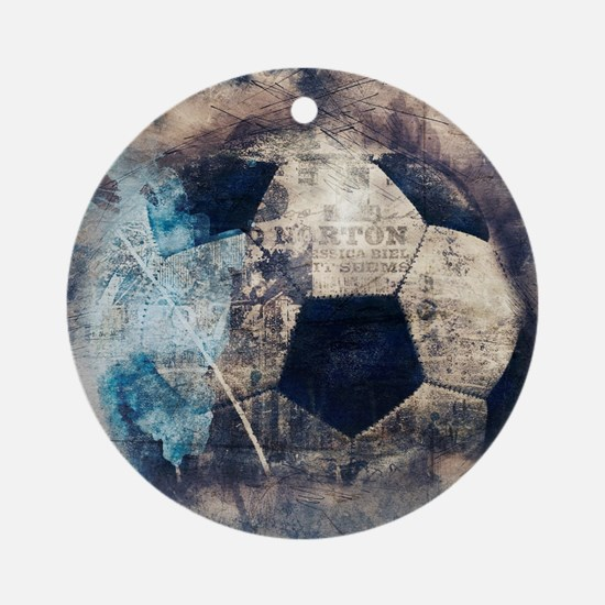 Abstract Blue Grunge Soccer Round Ornament