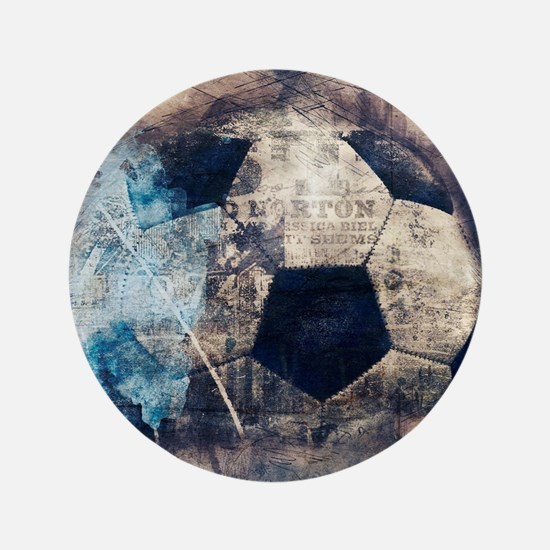 Abstract Blue Grunge Soccer Button