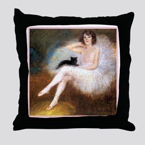 BALLERINA & BLACK CAT Throw Pillow