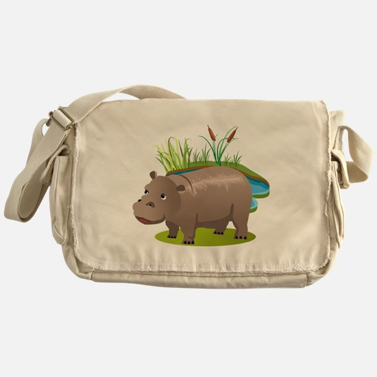 Cool Hippopotamus Messenger Bag