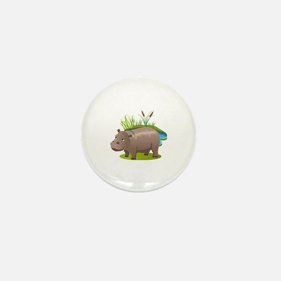 Funny Hippopotamus Mini Button