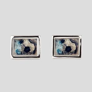 Abstract Blue Grunge Soccer Rectangular Cufflinks
