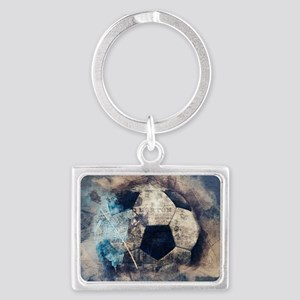 Abstract Blue Grunge Soccer Keychains