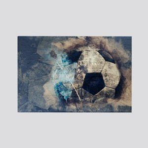 Abstract Blue Grunge Soccer Magnets