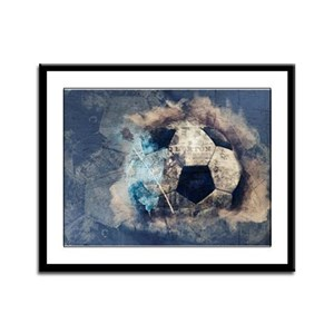 Abstract Blue Grunge Soccer Framed Panel Print