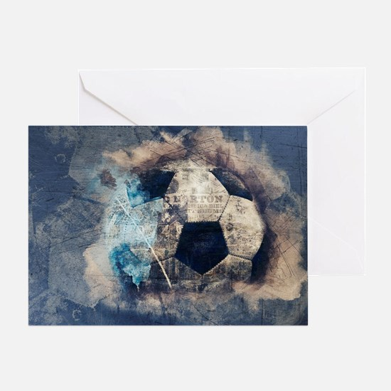 Abstract Blue Grunge Soccer Greeting Cards