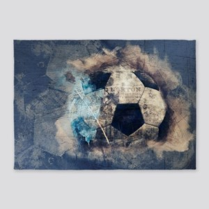 Abstract Blue Grunge Soccer 5'x7'Area Rug