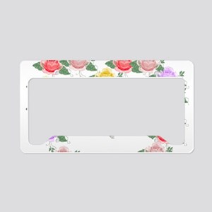 Roses and Butterflies Heart License Plate Holder