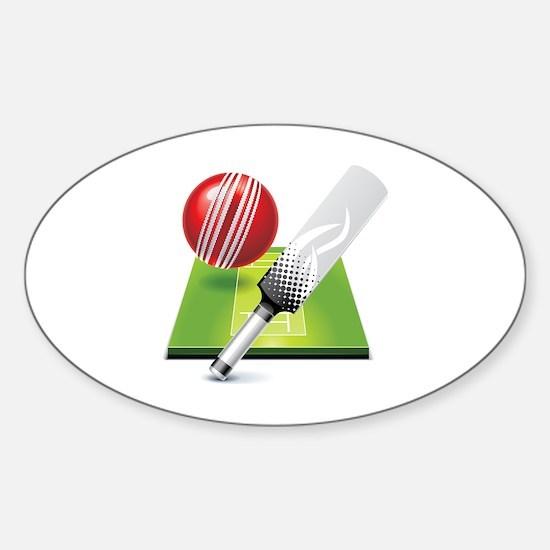 Cute Cricket bat Sticker (Oval)