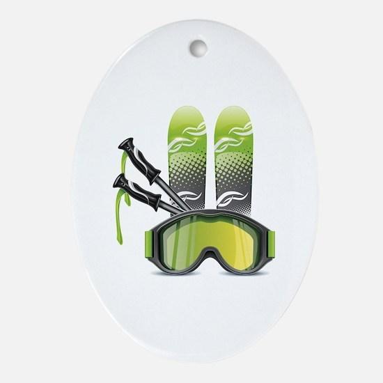 Cute Skier Oval Ornament