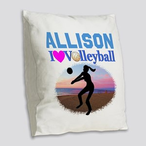 VOLLEYBALL STAR Burlap Throw Pillow