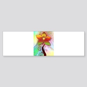 Pastel Computer Graphics Flower Bumper Sticker