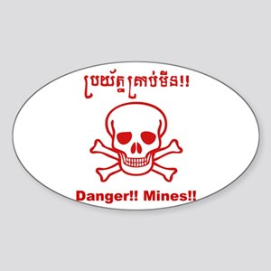 Danger! Mines! Oval Sticker