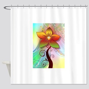 Pastel Computer Graphics Flower Shower Curtain