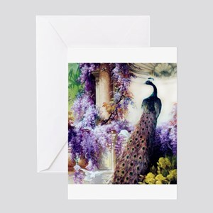 Bidau Peacock, Wisteria, Doves Greeting Cards