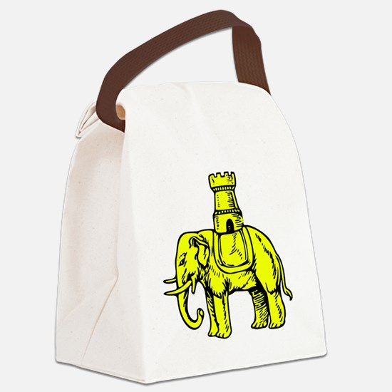 Cute Elephant and castle Canvas Lunch Bag