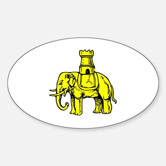 Cute Elephant and castle Sticker (Oval)
