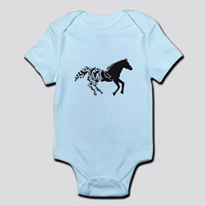 Black horse with flying birds Body Suit