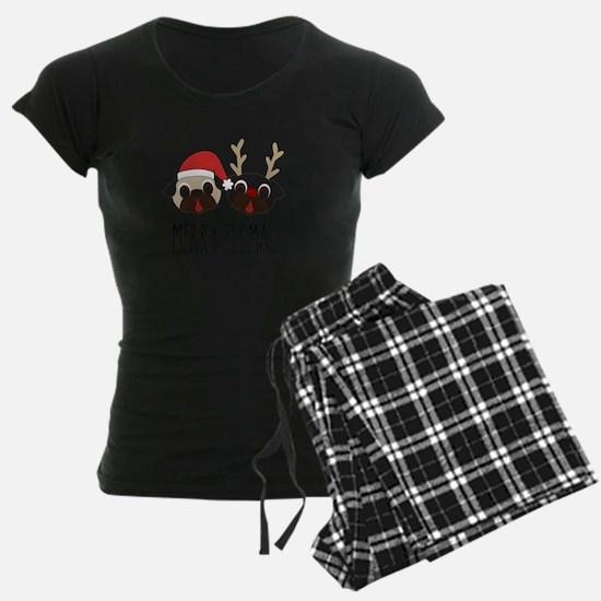 Merry Pugmas Santa & Reindeer Pajamas