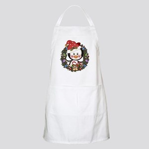 Christmas Penguin Holiday Wreath Light Apron