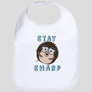 Stay Sharp Hipster Funny Hedgehog Baby Bib