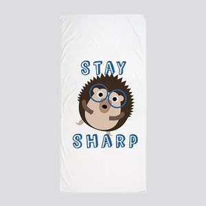 Stay Sharp Hipster Funny Hedgehog Beach Towel