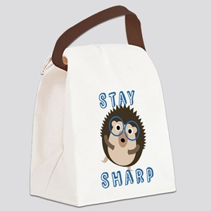 Stay Sharp Hipster Funny Hedgehog Canvas Lunch Bag