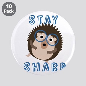 "Stay Sharp Hipster Funny Hed 3.5"" Button (10 pack)"