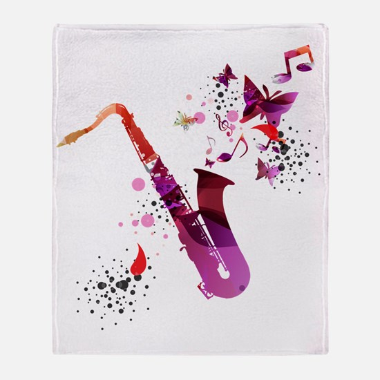 Funny Saxophone Throw Blanket
