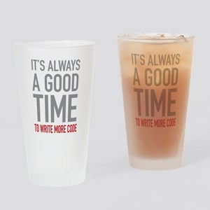 Write More Code Drinking Glass