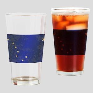 Flag of Alaska Grunge Drinking Glass