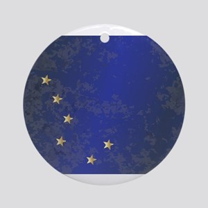 Flag of Alaska Grunge Round Ornament