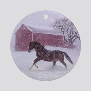 Let It Snow! Christmas Tree Horse Barn Ornament