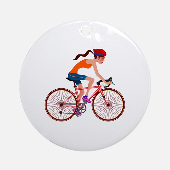 Cute Bicycling Round Ornament