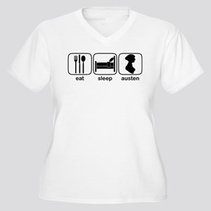 Eat Sleep Austen Women's Plus Size V-Neck T-Shirt