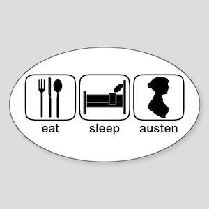 Eat Sleep Austen Oval Sticker