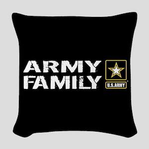 U.S. Army: Family (Black) Woven Throw Pillow